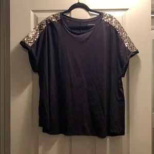 Lane Bryant black tee with gold and black sequins